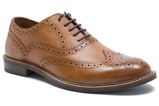 Red Tape Cardew Mens Leather formal Wingtip Brogue Shoes Tan